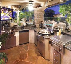 Amazing outdoor kitchen and bar.