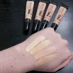 Swatches of the four lightest shades of the LA Girl pro concealer if you are wondering which one to get! L to R: Porcelain (neutral undertone), Light Ivory (yellow undertone), Classic Ivory (pink undertone), and Natural (peach undertone)