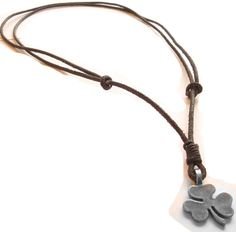 Mens Necklace With Lucky Clover Pendant and by MensLeatherNecklace