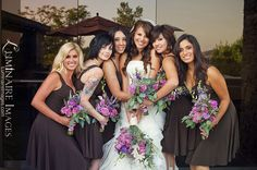 Purple and pink rose lavender bouquet (by Jen K Floral), with chocolate bridesmaid dresses