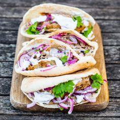 Homemade Lamb Doner Kebabs -pretty easy and Mason says not to skimp on the onions. Doner Kebab Recipe Turkish, Turkish Doner, Turkish Kebab, Lamb Recipes, Cooking Recipes, Roast Recipes, Cooking Time, Yummy Recipes, Vegan Recipes