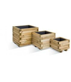 Houghton 3 Planter Set (9, 28 and 65 litres) - A set of three square heavy duty planters made from layered blocks of pine, taking advantage of the natural variations in the wood to create a great two-tone effect. The sizes of these three planters (9 litre, 28 litre and 65 litre) are very flexible giving you the perfect start for your patio or small container garden. (9L H:230mm W:300mm D:300mm) (28L H:330mm W:400mm D:400mm) (65L H:430mm W:500mm D:500mm)