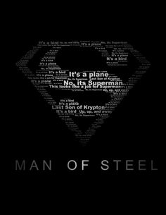 Superman Man of Steel Typography Print black and white 8.5x11. $15.00, via Etsy.