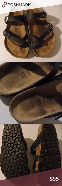 Black Leather Birkenstock Mayari Sandals Size 38 Mayari sandals from Birkenstock. Smooth Stoney Black Leather. Worn a handful of times this summer. These are super cute but I prefer my Arizona slides and don't wear these enough. Make me an offer! Birkenstock Shoes Sandals