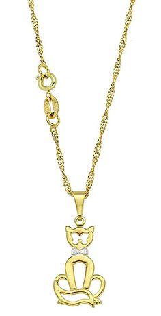 Gargantilha folheada a ouro c/ pingente em gato c/ aplique de prata