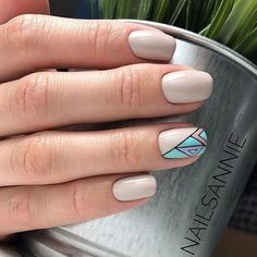 Beige and turquoise nails