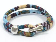 blue tones ethnic bracelet  blue aztec fabric by CozyDetailz