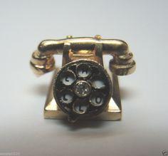 "Antique Enamel Diamond Telephone Charm ""HELLO I LOVE U"" 14k D-.02ct Vintage RARE"