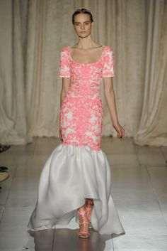 Marchesa RTW Spring 2013 - Love the Perfect Coral Pink and the skirt looks as soft as whipped cream.
