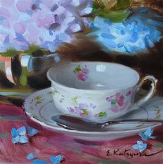 """Daily Paintworks - """"Teacup and Hydrangea"""" by Elena Katsyura Tea Cup Art, Tea Cups, Sweetest Devotion, Cafe Art, Fruit Painting, Painting Still Life, High Art, Fine Art Gallery, Beautiful Paintings"""