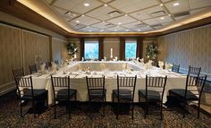 Banquet room set up for corporate meeting. The Waters Edge at Giovanni's, Darien, Ct