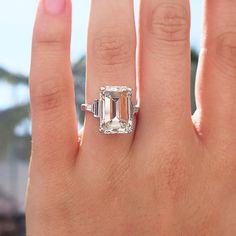 Emerald-cut diamond ring in platinum #engagement #wedding #vintage #jewelry