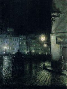 """Warsaw's Old Town Market Place at Night"" (1892) by Józef Pankiewicz (Polish,1866-1940),oil on canvas, 61 x 45.5 cm, National Museum, Poznan."