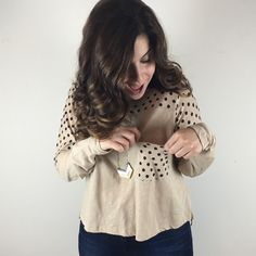 "[Madewell] Polka Dot Pocket Long Sleeve Top Small A great neutral yet fun top for any fall wardrobe! Long sleeve. Looser, slightly cropped style. Pocket on left chest.   Color: Tan & Black Fabric: 100% Cotton Size: Small Bust: 20"" Length: 21"" Condition: EUC. No flaws!  No Trades! No PayPal! Madewell Tops Tees - Long Sleeve"