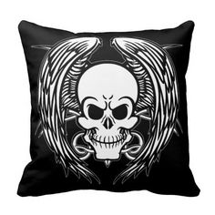 Grinning Tattoo Skull and Wings with Tribal Pillow