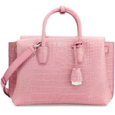 Mcm Milla Medium Crocodile-Embossed Tote Bag featuring polyvore, women's fashion, bags, handbags, tote bags, pink pattern, pink tote, pink leather purse, red tote, pink leather tote and leather handbags