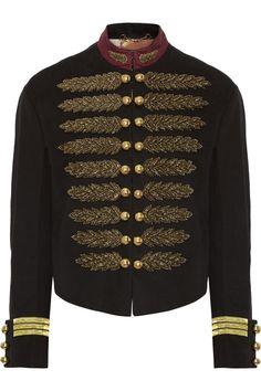 Gucci|Embellished cotton and linen-blend jacket|NET-A-PORTER.COM