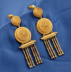 Etruscan Revival 18kt Gold Earpendants, designed as disks with applied bead and ropetwist accents, suspending baton fringe, lg. 2 1/4 in., French import stamps,
