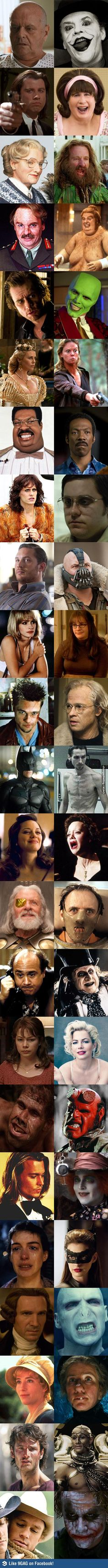Incredible transformations by some of the best actors.