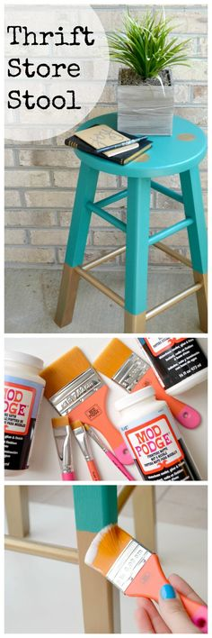 THRIFT STORE CHALLENGE: BABANEES INSPIRED PAINTED STOOL in Teal and Gold. What a…