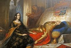 Joan the Mad waiting for the resurrection of her husband, Philip the Handsome/Jeanne la Folle attendant la résurrection de Philippe le Beau son mari by Charles de Steuben. This painting hangs in the Palais des Beaux-Arts in Lille. Kingdom Of Navarre, Joanna Of Castile, Spain History, European History, Art History, Royal Monarchy, Queen Isabella, Catherine Of Aragon, Francis I