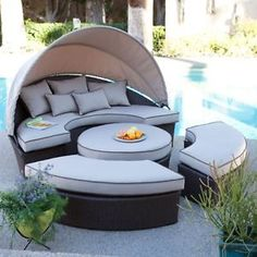 Outdoor All Weather Resin Wicker Patio Furniture Daybed Lounge Garden Poolside   eBay