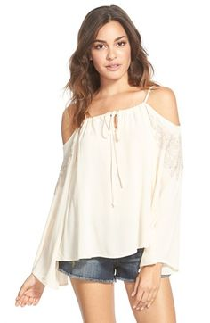 Haute Society Lace Trim Cold Shoulder Top (Juniors) available at #Nordstrom