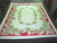 Vintage 1950s Cotton 50x62 Kitchen Tablecloth with by funoldstuff