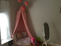 Gray and Pink bedrooms are accents with a reading nook. Sweet tents and flower balls make this corner a magical space. Pink Bedrooms, Girls Bedroom, Room, Toddler Bed, Pink Bedroom, Home Decor, Pink, Reading Nook, Bedroom