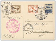 Germany, German Empire, Zeppelinpost, 01.08.1936, Karte von der Olympiafahrt (Sieger-Nr.427 Ba) (Mi.-Nr.DR 606, 609, 612). Price Estimate (8/2016): 20 EUR. Unsold.