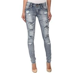 dollhouse Rip and Repair Light Wash Skinny Jeans in Wheatgrass Women's Jeans