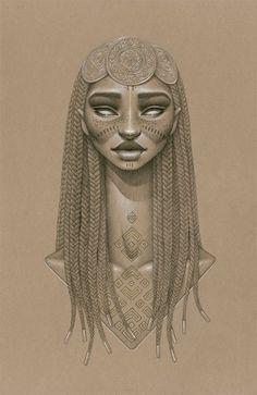 """Nyambi"" | Sara Golish Marks the Summer Solstice with Sundust Sun Goddesses. Sundust: Striking Charcoal & Conté Portraits of Sun Goddesses by Sara Golish #AfroFuturism http://www.thisiscolossal.com/2014/06/sundust-sara-golish/"