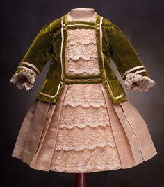 Antique French Silk & Velvet DRESS for Jumeau Bru Steiner Eden Bebe from respectfulbear on Ruby Lane