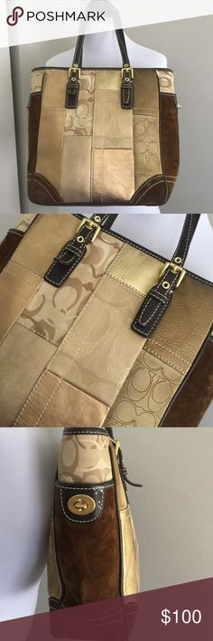 AUTHENTIC Coach Patchwork Tote Bag Great condition! Rare collection. Suede Sides and Bottom. Patches of metallic gold, tan and brown. Gold hardware. No harsh stains, rips or frays. Coach Bags Totes