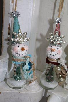 "SNOWMAN Assemblage Ornament, Mixed Media Original, Christmas Ornamnet, ""MERRY WINTERS"" Handmade by Lori Cottam"