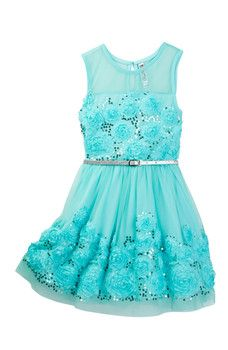 Beautees - Soutache & Sequin Belted Dress (Big Girls)