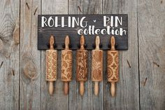 ROLLING PIN HOLDER  wooden hanger for 5 mini engraved rolling