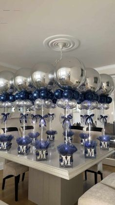 Baby Shower Balloon Decorations, Balloon Centerpieces, Boy Baby Shower Themes, Baby Shower Balloons, Baby Boy Shower, Room Decorations, Diy Party Centerpieces, Baby Shower Ideas For Boys Centerpieces, Christening Table Decorations