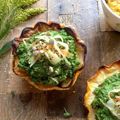 Baked Acorn Squash with Nut Free Spinach Pesto