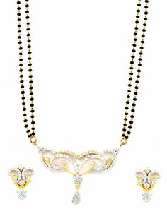 AD CZ Mangal Sutra with Chain in gold rhodium finish - MS10474CL