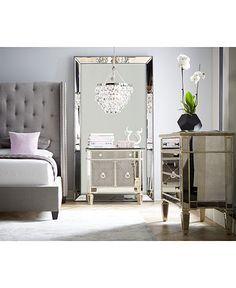Marais Mirrored Furniture, California King 3 Piece Set (Bed, Mirrored  3 Drawer