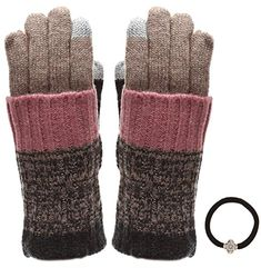 5401d5cea Womens Winter Touchscreen Wool Blend Soft Knitted Warm Gloves with MIRMARU  Hair Tie TwoToneKhaki *** See this great product.
