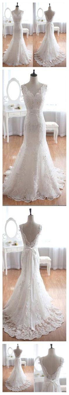 Popular Elegant V-Neck Long Mermaid White Lace Bridal Gown, Wedding Party Dresses , WD0045