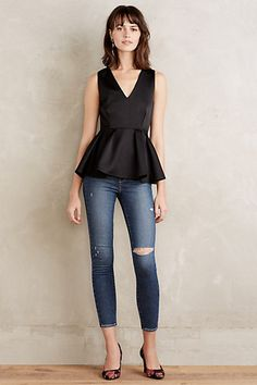 I think I need to invest in some peplum tops. Formalist Satin Peplum Top #anthropologie