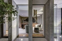 RIMA Arquitectura designed the concrete Bacatete House in Mexico City as its own environment with gardens offering an escape from the city. Steel Columns, Exposed Concrete, Concrete Houses, Common Area, Lounge Areas, Building Materials, Ground Floor, Outdoor Spaces, Garden Design
