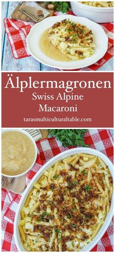 Älplermagronen (Swiss Alpine Macaroni) - Tara's Multicultural Table- Layers of pasta, cubed potatoes, shredded Gruyère cheese, and cream are baked until golden and bubbly, topped with caramelized onions, and served with applesauce. Macaroni Recipes, Pasta Recipes, Dinner Recipes, Vegan Recipes Easy, Veggie Recipes, Kitchen Recipes, Cooking Recipes, Swiss Recipes, Around The World Food