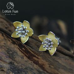 Lotus Fun Real 925 Sterling Silver Natural Creative Handmade Fine Jewelry Vintage Fresh Flowers Stud Earrings for Women Brincos *** Nov 11 AliExpress BIG SALE DAY. Click the image for detailed description on www.aliexpress.com #christmascrafts