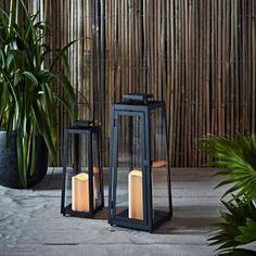 Cdiscount - Lot de 2 Lanternes Solaires en Métal Noir avec Bougies LED pour Jardin