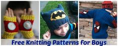 The HUGE List Of Free Knitting Patterns for Boys including hats, sweaters, blankets, toys and more! Featuring Batman, Iron Man, Minions, Spiderman patterns