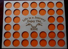 Engraved Poker Chip Frame Display Insert, Life is a Journey, fits 36 Harley or Poker chips, 11 X 14 natural birch chip holder, handle bars by CarvedByHeart on Etsy